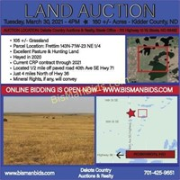 March 30 - 160 +/- Acres - Kidder County, ND
