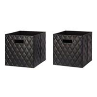 Faux Leather Storage Bin, 2-Pack, Black