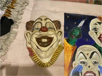 3 Pcs. Plaster Clown Faces & Clown Painting on Can