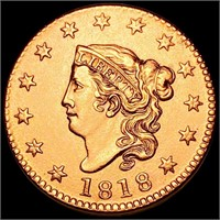 1818 Coronet Head Large Cent UNCIRCULATED RED