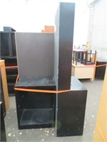 (2) Wooden Storage Units & Bookshelf