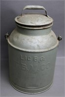 3 QUART MILK CAN WITH LID. TBV.CO 8X13