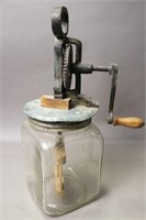 EARLY GLASS MIXING JAR WITH CAST MIXER  5X14