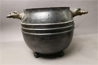 CAST IRON BUCKET WITH EAGLE HANDLES  9X9