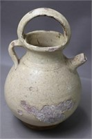 EARLY REDWARE POT WITH SPOUT AND HANDLE 6X10