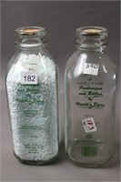 TWO HEWITTS DAIRY QUART MILK BOTTLES