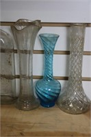 LOT OF FIVE VASES AND THREE WINE BOTTLES