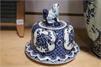 BLUE FLORAL VASE 9X13