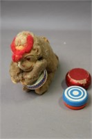 WIND UP MONKEY AND TWO WOODEN YOYO'S