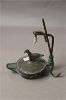 TWO WHALE OIL LAMPS 4X3X4