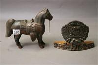 HORSE STATUE AND 1958 HOBBY FAIR AWARD