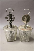 """TWO GLASS HAND MIXERS 10"""" TALL"""