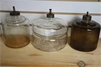 THREE GLASS KEROSENE FEEDERS