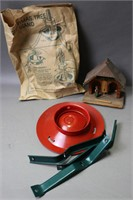 CHRISTMAS TREE STAND, THERMOMETER, AND FISH DISH