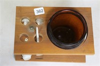 PIPE STAND WITH PIPES AND TOBACCO JAR