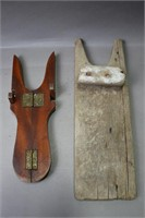 TWO WOODEN BOOT JACK