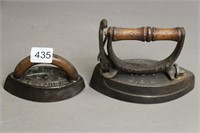 TWO SMALL SAD IRONS. THE PEAL AND TOILET NO. 4
