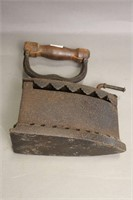 CAST HOT CHARCOAL IRON WITH WOODEN HANDLE