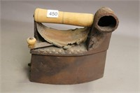 CAST HOT CHARCOAL IRON WITH WOOD HANDLE