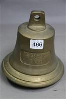 MS BREMEN 1911 BRASS BELL 5 1/2 X 5 1/2