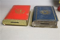 LOT OF 5 TIN/PLASTIC COIN BANKS