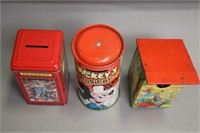 LOT OF 6 TIN COIN BANKS