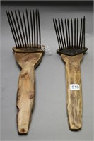 TWO PRIMITIVE WOOL COMBS