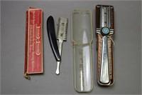 LOT OF 8 STRAIGHT RAZORS, TWO BRUSES AND STROP