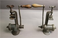 """TWO TABLE MOUNT MEAT GRINDERS 10"""" LONG"""