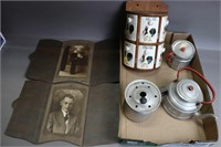 LOT OF CHILDS TEA ITEMS, SPICE RACK AND PHOTOS