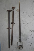 """TWO WOODEN MARKERS AND LONG LADLE 40"""""""