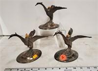 3 plated geese (brandy warmers?)