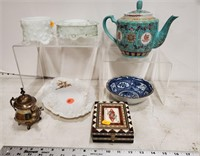 Assorted old glass, tea pot, bowl, & more