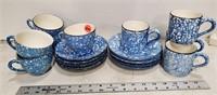 Spongeware cups & saucers