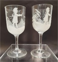 Sherry glasses in style of Mary Gregory