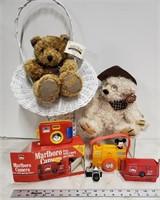 Teddy bears, cameras, & basket
