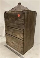 Lg. wood crated tin gas/kerosene? tank