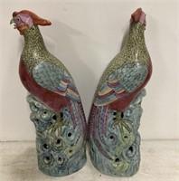 2 ceramic Asian birds