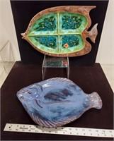 2 fish platters & lobster pots