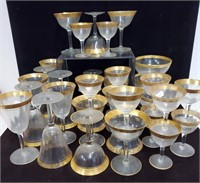 Lg. lot of gold banded glassware