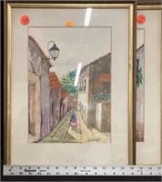 2 framed watercolors of street scenes