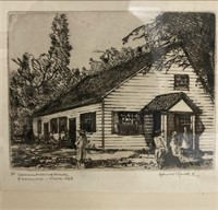 "John Garth etching ""Quaker Meeting Hall Easton MD"""
