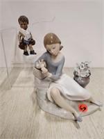 Lladro girl reclining figurine & 1 boxer