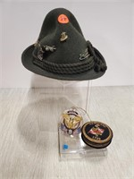 Hat, 2 MD badges, & ornament