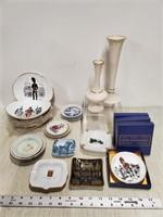 "Staffordshire ""Uniforms"" Lenox vases, ashtrays"
