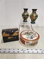 Asian lot, covered jar, box, & 2 cloisonne