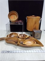 Wooden bowl & ice bucket