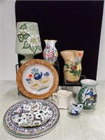 Floral decorated pitchers & lot