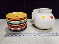 Deco pitcher & saucers