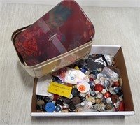 Box of buttons & tin